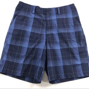 Under Armour UA Flat Front Golf Shorts Plaid 34